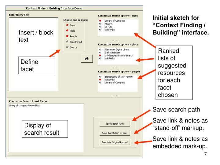 "Initial sketch for ""Context Finding / Building"" interface."
