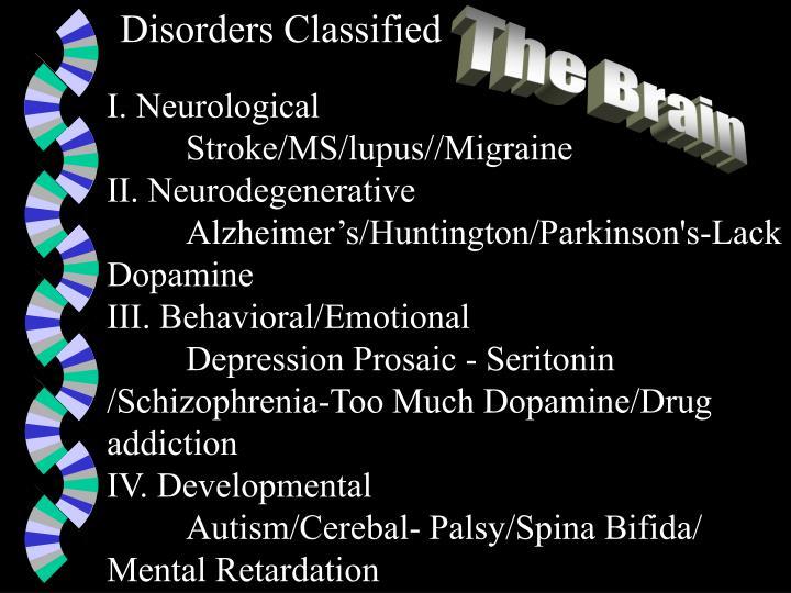Disorders Classified
