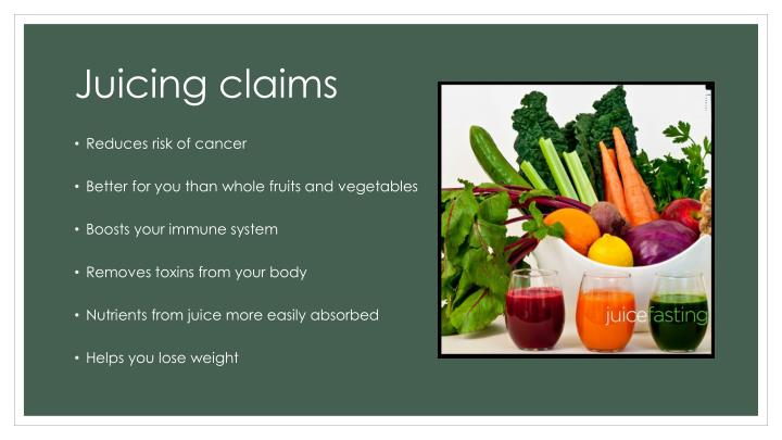Juicing claims