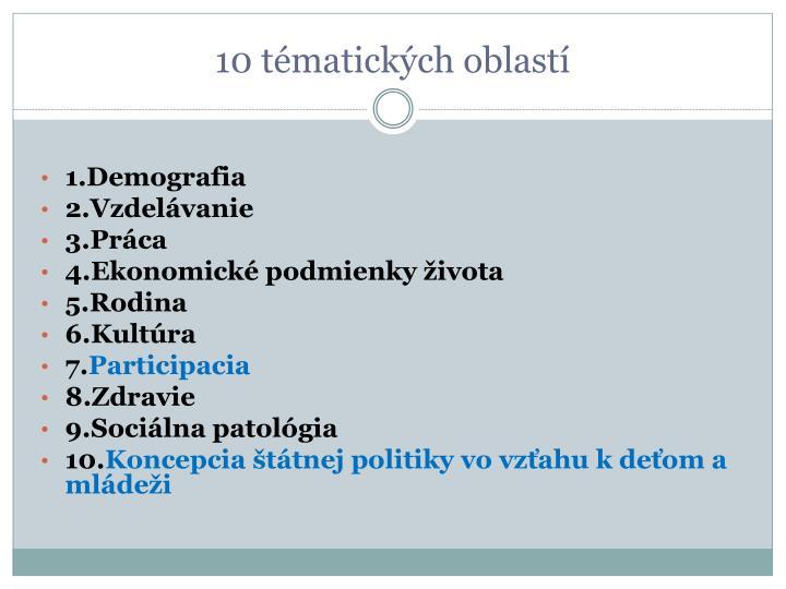 10 tématických oblastí