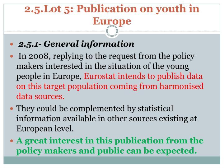 2.5.Lot 5: Publication on youth in Europe