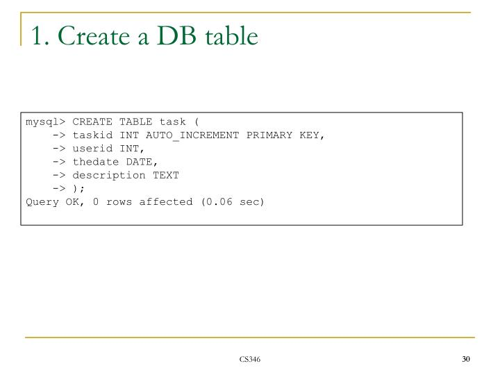 1. Create a DB table