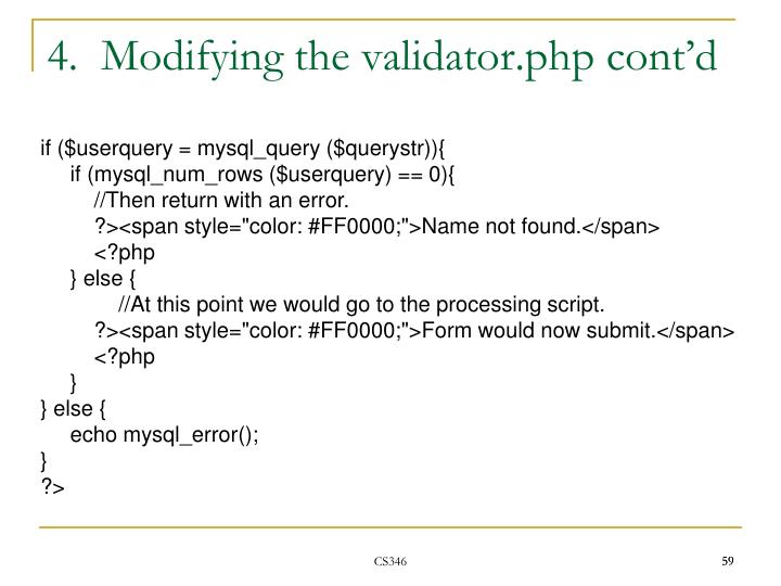 4.  Modifying the validator.php cont'd