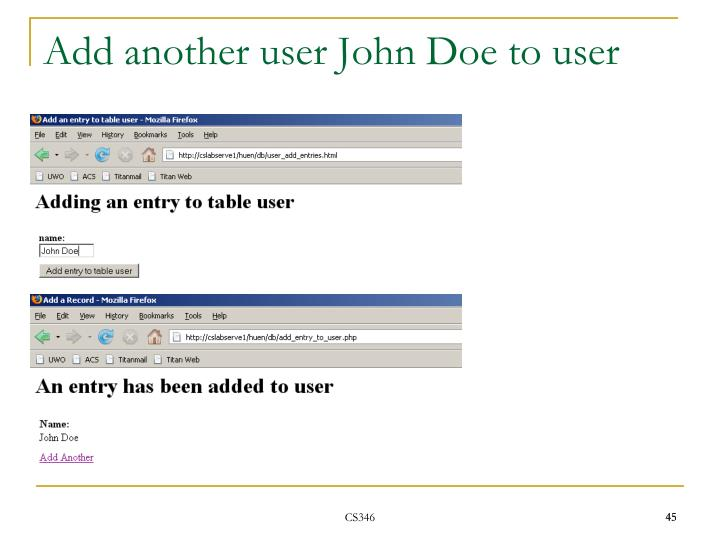 Add another user John Doe to user