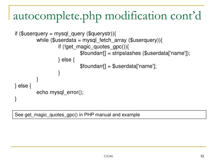 autocomplete.php modification cont'd