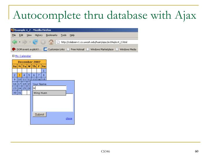 Autocomplete thru database with Ajax