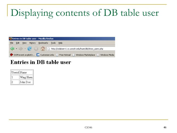 Displaying contents of DB table user