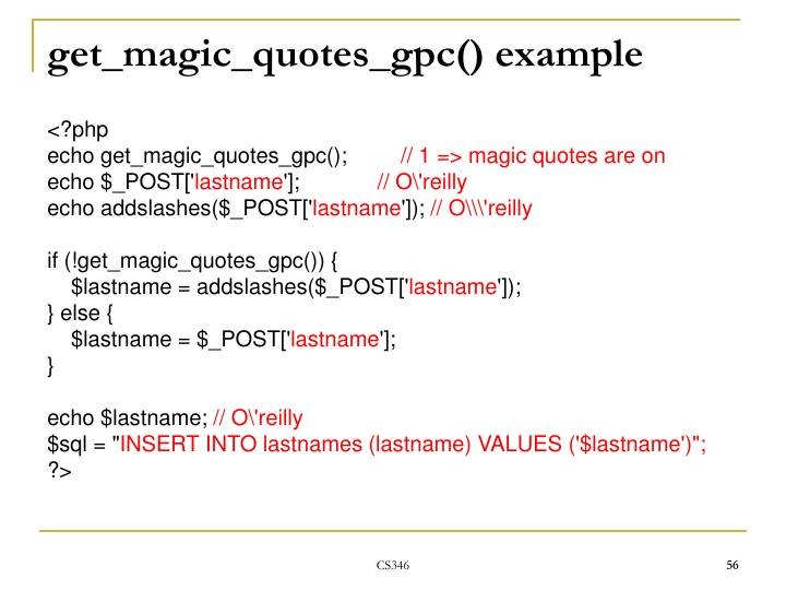get_magic_quotes_gpc() example