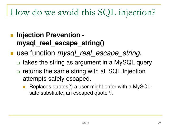 How do we avoid this SQL injection?