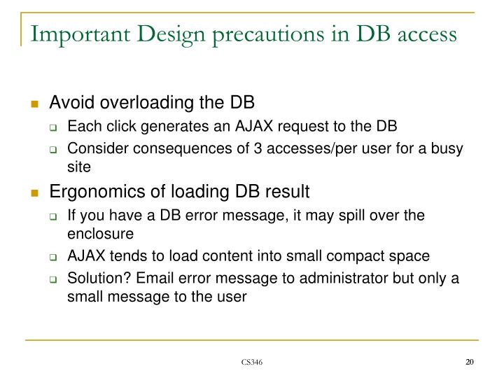 Important Design precautions in DB access
