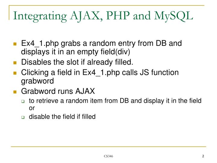 Integrating ajax php and mysql