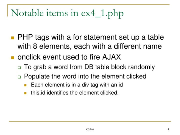 Notable items in ex4_1.php