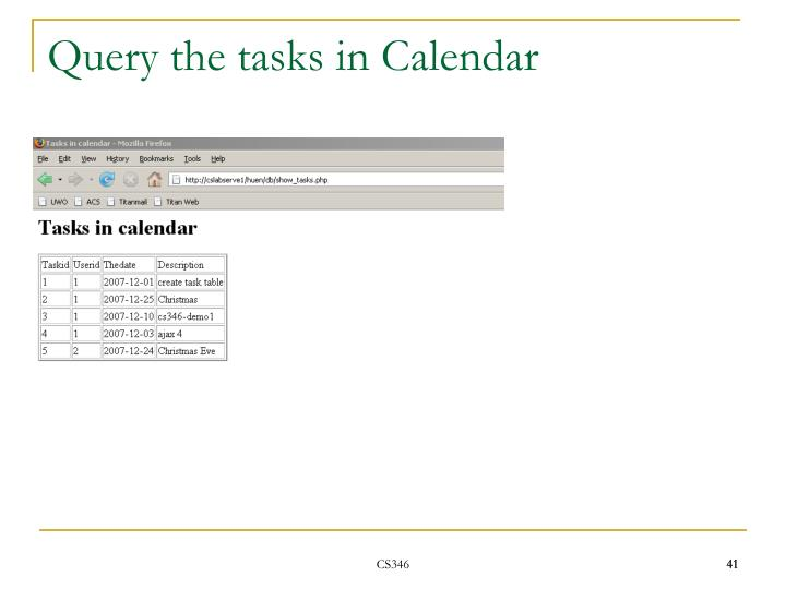 Query the tasks in Calendar