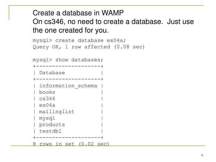 Create a database in WAMP