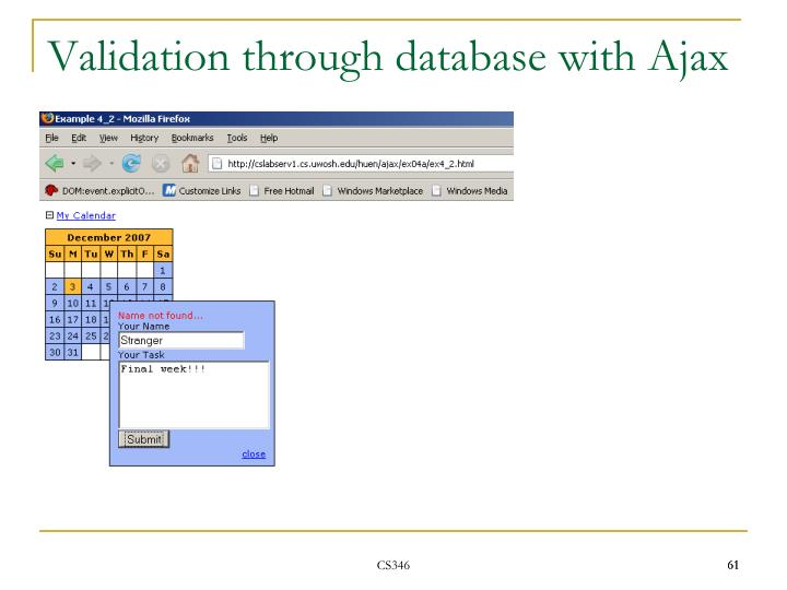 Validation through database with Ajax