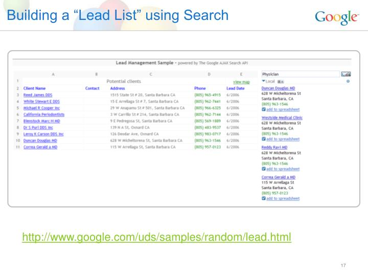 "Building a ""Lead List"" using Search"