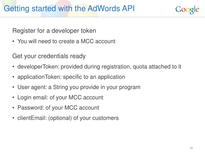 Getting started with the AdWords API