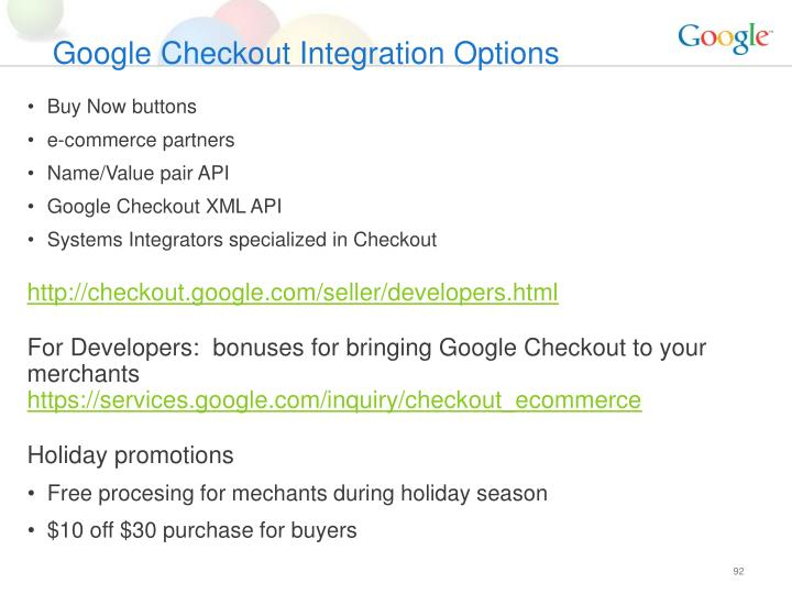 Google Checkout Integration Options