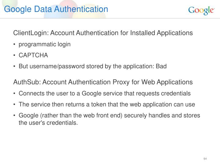 Google Data Authentication