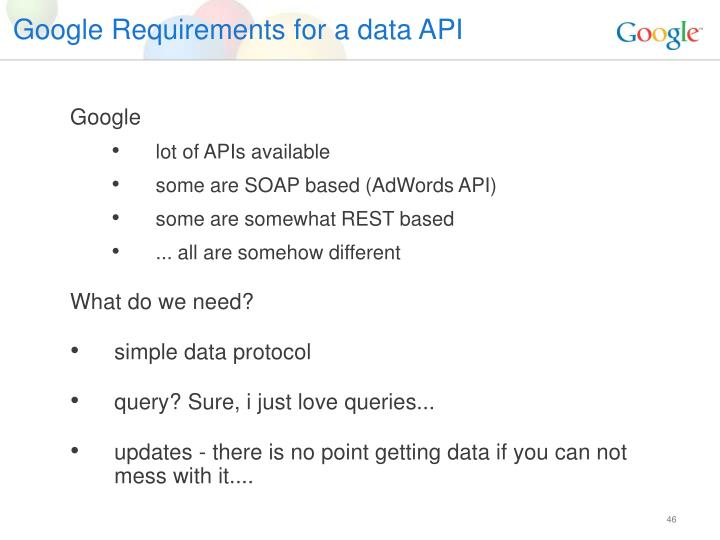 Google Requirements for a data API