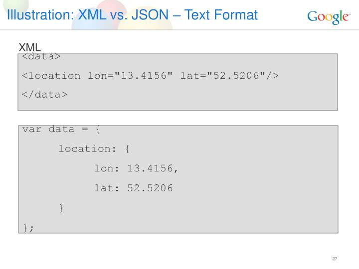 Illustration: XML vs. JSON – Text Format