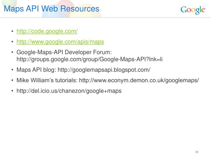 Maps API Web Resources