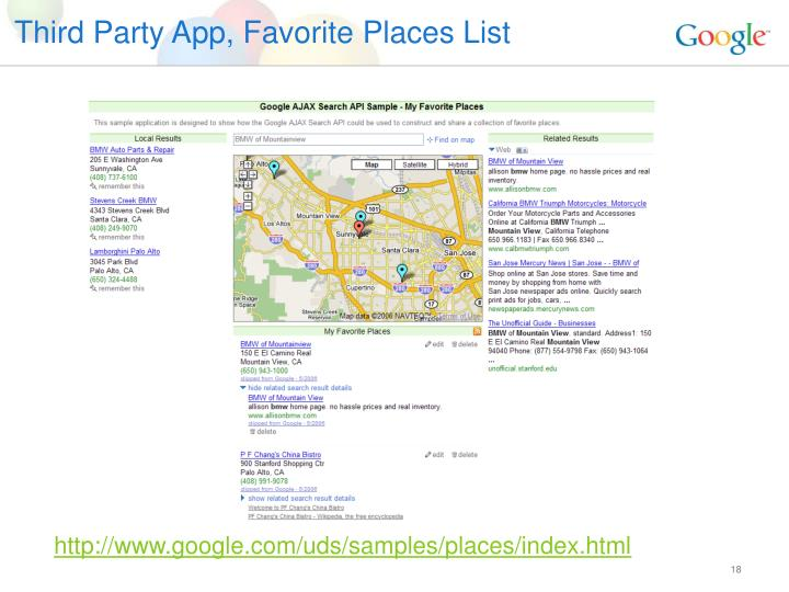 Third Party App, Favorite Places List
