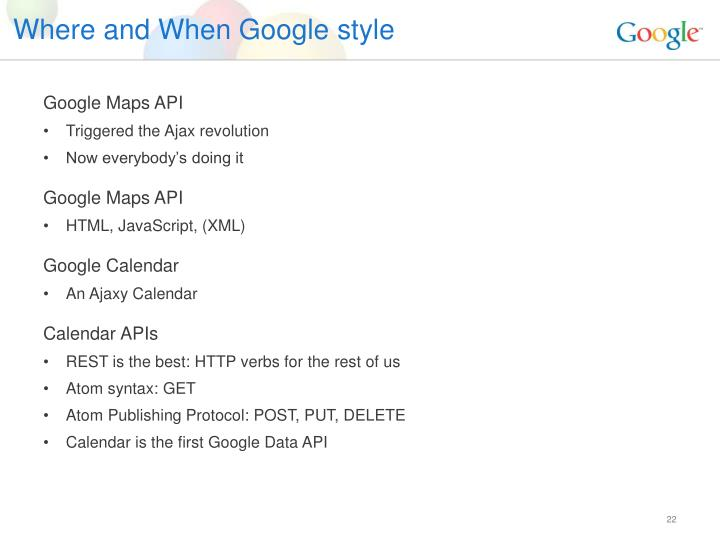 Where and When Google style