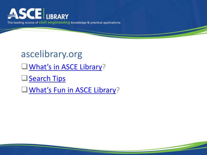 Ascelibrary org what s in asce library search tips what s fun in asce library