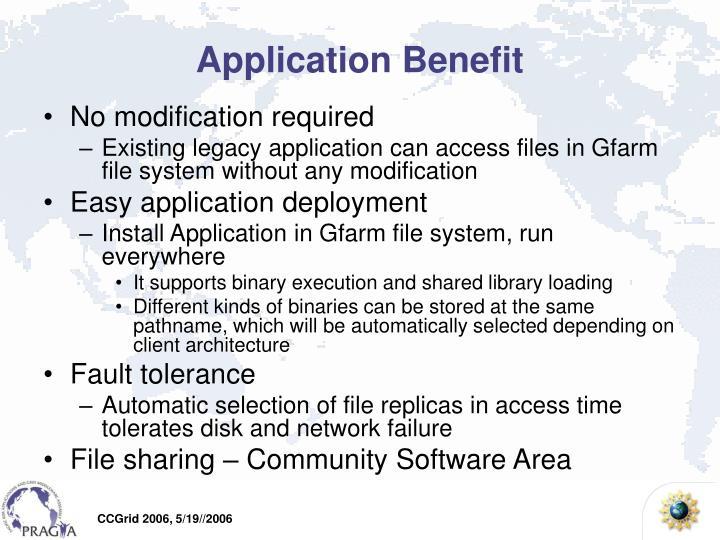 Application Benefit