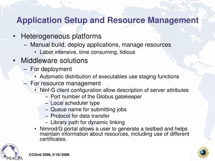 Application Setup and Resource Management