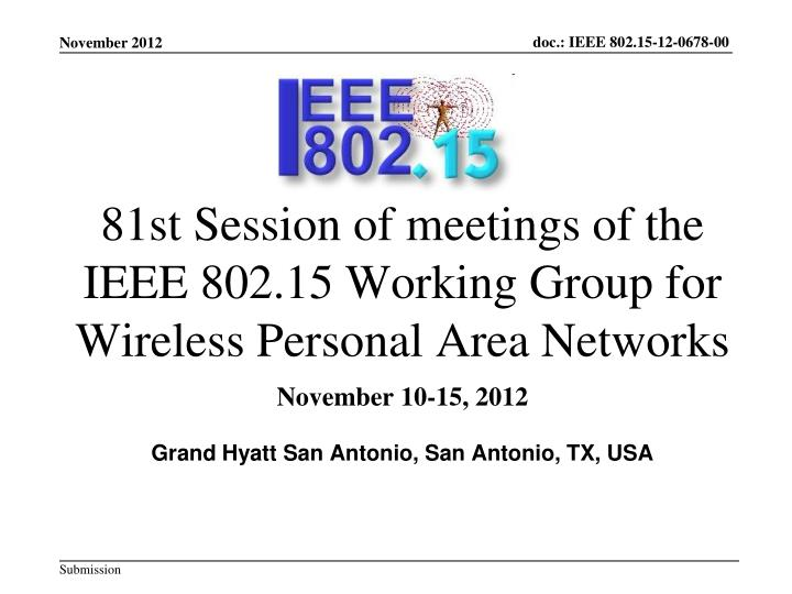 81st session of meetings of the ieee 802 15 working group for wireless personal area networks n.