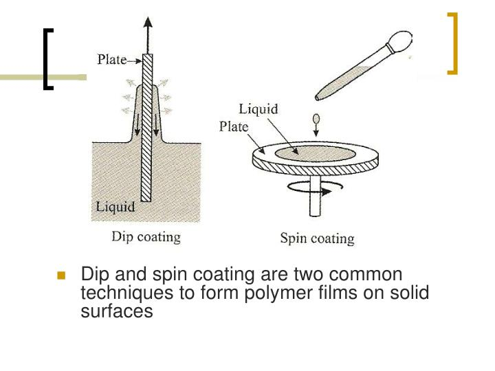 Dip and spin coating are two common techniques to form polymer films on solid surfaces