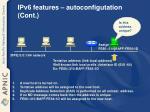 ipv6 features autoconfigutation cont