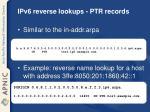 ipv6 reverse lookups ptr records