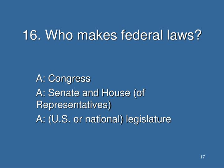 16. Who makes federal laws?