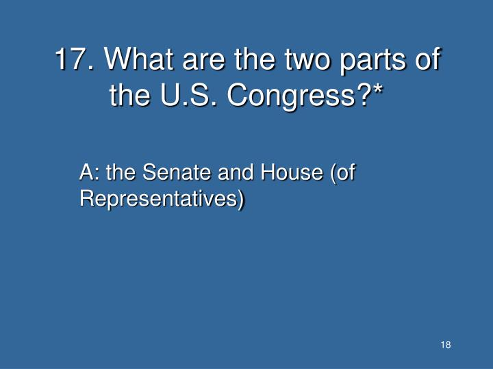 17. What are the two parts of the U.S. Congress?*