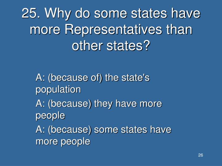 25. Why do some states have more Representatives than other states?