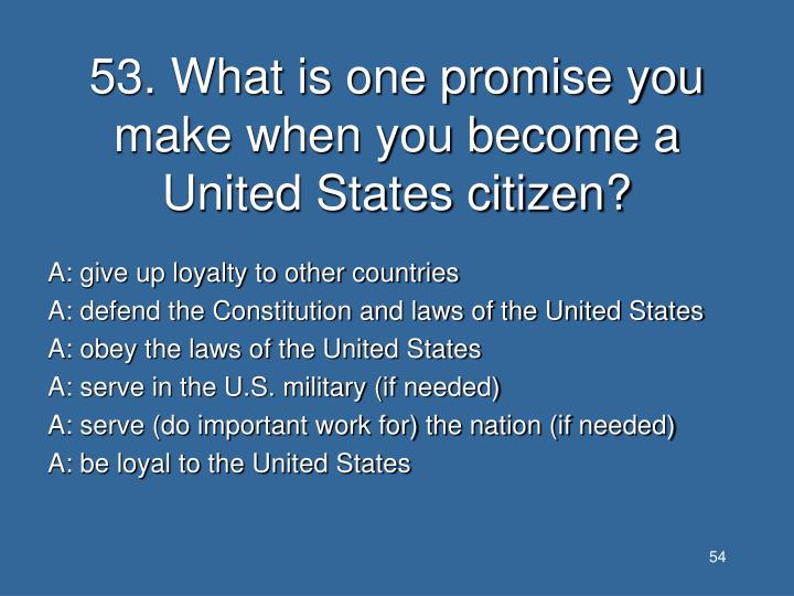 53. What is one promise you make when you become a United States citizen?