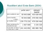 rozd len akci erste bank 2004