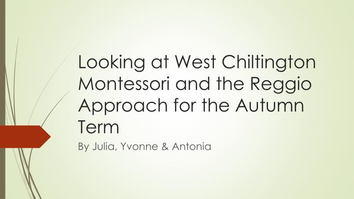 Looking at west chiltington montessori and the reggio approach for the autumn term