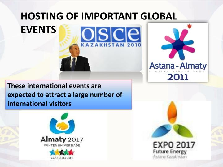 These international events are expected to attract a large number of international visitors