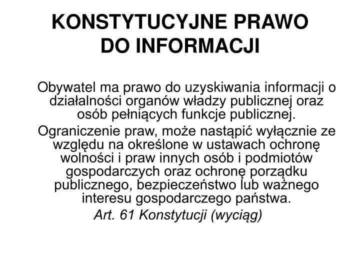 Konstytucyjne prawo do informacji