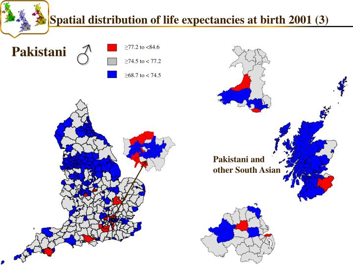 Spatial distribution of life expectancies at birth 2001 (3)
