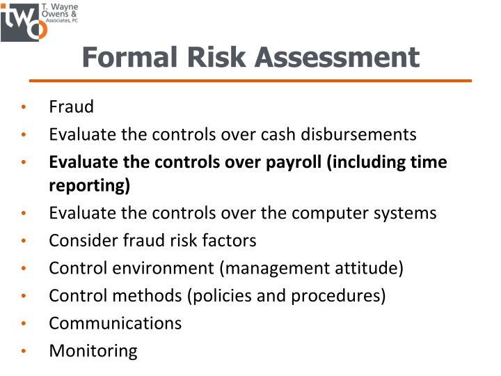 Formal Risk Assessment