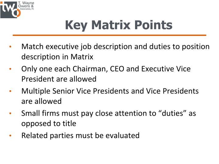 Key Matrix Points
