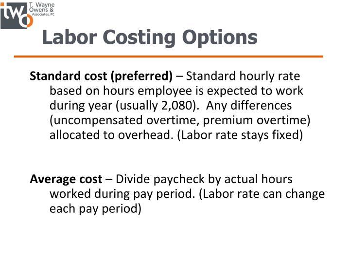 Labor Costing Options