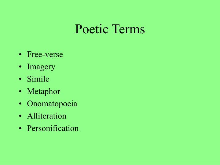 poetry terms slide 1 Poets corner word search # 1 – poetic terms   title: slide 1 author: gimli created date: 8/8/2007 8:02:15 am.