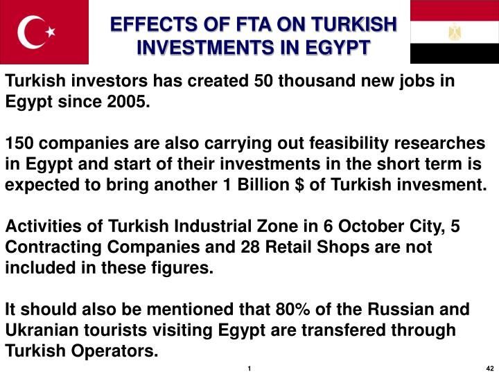 Turkish investors has created 50 thousand new jobs in Egypt since 2005.