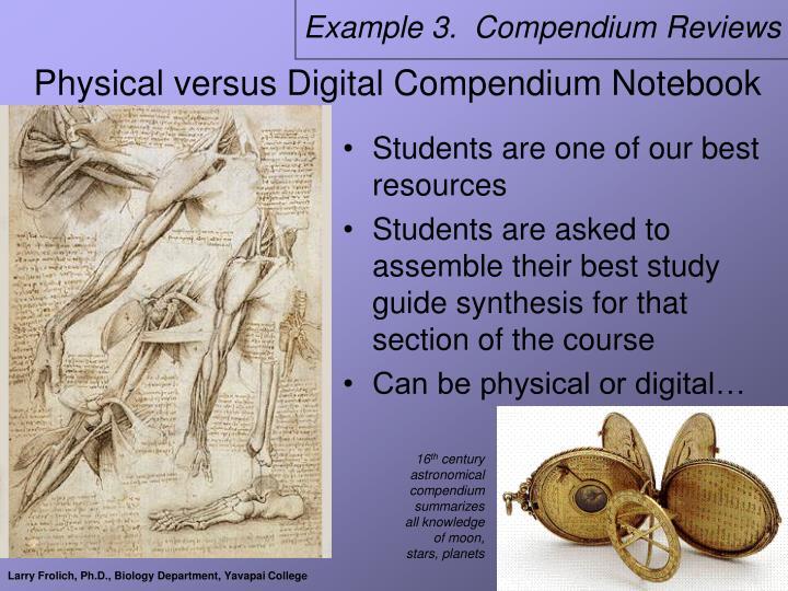 Example 3.  Compendium Reviews